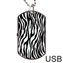 Zebra Stripes Pattern Traditional Colors Black White Dog Tag Usb Flash (two Sides) by EDDArt