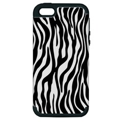 Zebra Stripes Pattern Traditional Colors Black White Apple Iphone 5 Hardshell Case (pc+silicone) by EDDArt