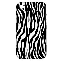 Zebra Stripes Pattern Traditional Colors Black White Apple Iphone 4/4s Hardshell Case (pc+silicone) by EDDArt