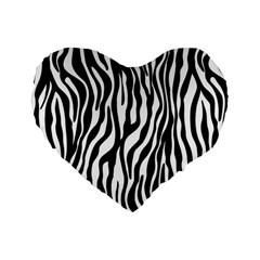 Zebra Stripes Pattern Traditional Colors Black White Standard 16  Premium Heart Shape Cushions by EDDArt