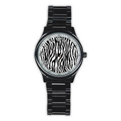 Zebra Stripes Pattern Traditional Colors Black White Stainless Steel Round Watch by EDDArt