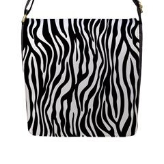 Zebra Stripes Pattern Traditional Colors Black White Flap Messenger Bag (l)  by EDDArt
