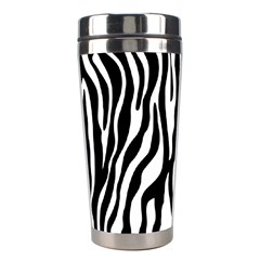 Zebra Stripes Pattern Traditional Colors Black White Stainless Steel Travel Tumblers by EDDArt
