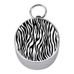 Zebra Stripes Pattern Traditional Colors Black White Mini Silver Compasses by EDDArt