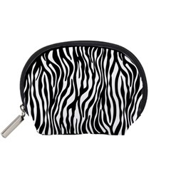 Zebra Stripes Pattern Traditional Colors Black White Accessory Pouches (small)  by EDDArt