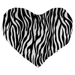 Zebra Stripes Pattern Traditional Colors Black White Large 19  Premium Flano Heart Shape Cushions by EDDArt