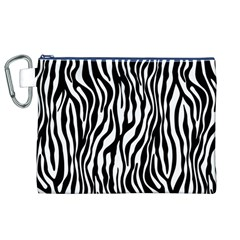 Zebra Stripes Pattern Traditional Colors Black White Canvas Cosmetic Bag (xl) by EDDArt