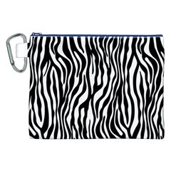 Zebra Stripes Pattern Traditional Colors Black White Canvas Cosmetic Bag (xxl) by EDDArt