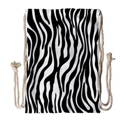 Zebra Stripes Pattern Traditional Colors Black White Drawstring Bag (large) by EDDArt