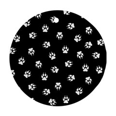 Footprints Dog White Black Ornament (round) by EDDArt