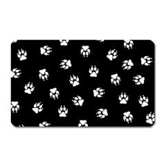 Footprints Dog White Black Magnet (rectangular) by EDDArt