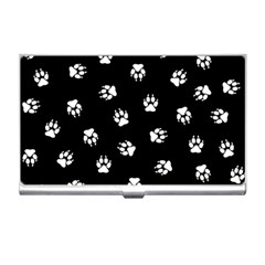 Footprints Dog White Black Business Card Holders by EDDArt