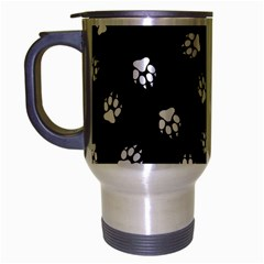 Footprints Dog White Black Travel Mug (silver Gray) by EDDArt