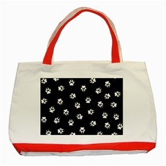 Footprints Dog White Black Classic Tote Bag (red) by EDDArt