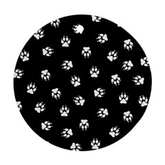 Footprints Dog White Black Round Ornament (two Sides) by EDDArt