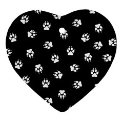 Footprints Dog White Black Heart Ornament (two Sides) by EDDArt