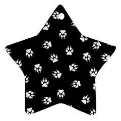 Footprints Dog White Black Star Ornament (two Sides) by EDDArt