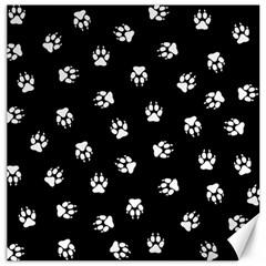 Footprints Dog White Black Canvas 16  X 16   by EDDArt