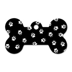 Footprints Dog White Black Dog Tag Bone (two Sides) by EDDArt