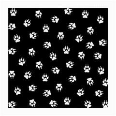 Footprints Dog White Black Medium Glasses Cloth by EDDArt