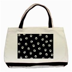 Footprints Dog White Black Basic Tote Bag (two Sides) by EDDArt