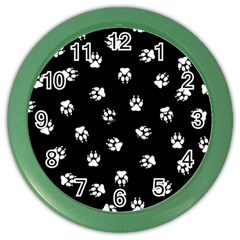 Footprints Dog White Black Color Wall Clocks by EDDArt