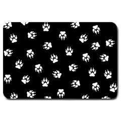 Footprints Dog White Black Large Doormat  by EDDArt