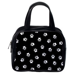 Footprints Dog White Black Classic Handbags (one Side) by EDDArt