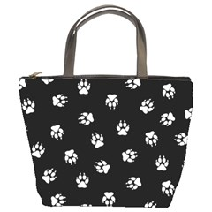 Footprints Dog White Black Bucket Bags by EDDArt