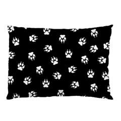 Footprints Dog White Black Pillow Case by EDDArt