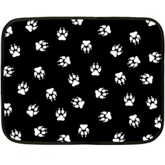 Footprints Dog White Black Fleece Blanket (mini) by EDDArt