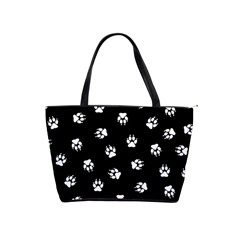 Footprints Dog White Black Shoulder Handbags by EDDArt