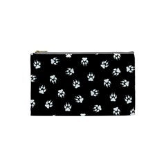 Footprints Dog White Black Cosmetic Bag (small)  by EDDArt