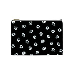 Footprints Dog White Black Cosmetic Bag (medium)  by EDDArt