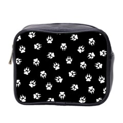 Footprints Dog White Black Mini Toiletries Bag 2 Side by EDDArt