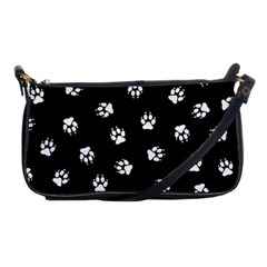 Footprints Dog White Black Shoulder Clutch Bags by EDDArt