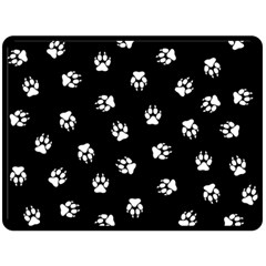 Footprints Dog White Black Fleece Blanket (large)  by EDDArt