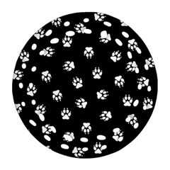 Footprints Dog White Black Ornament (round Filigree) by EDDArt