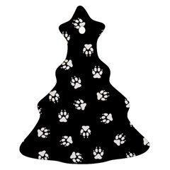 Footprints Dog White Black Ornament (christmas Tree)  by EDDArt