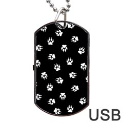 Footprints Dog White Black Dog Tag Usb Flash (two Sides) by EDDArt