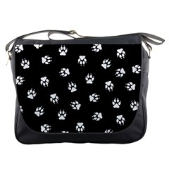 Footprints Dog White Black Messenger Bags by EDDArt