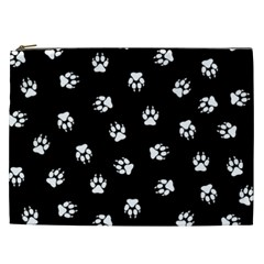 Footprints Dog White Black Cosmetic Bag (xxl)  by EDDArt