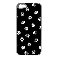 Footprints Dog White Black Apple Iphone 5 Case (silver) by EDDArt