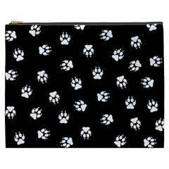 Footprints Dog White Black Cosmetic Bag (xxxl)  by EDDArt