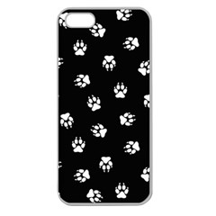 Footprints Dog White Black Apple Seamless Iphone 5 Case (clear) by EDDArt