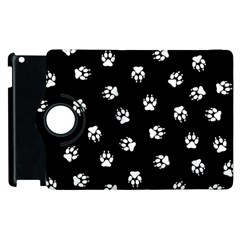 Footprints Dog White Black Apple Ipad 2 Flip 360 Case by EDDArt