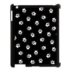 Footprints Dog White Black Apple Ipad 3/4 Case (black) by EDDArt