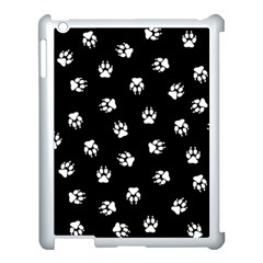 Footprints Dog White Black Apple Ipad 3/4 Case (white) by EDDArt