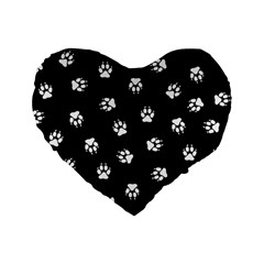 Footprints Dog White Black Standard 16  Premium Heart Shape Cushions by EDDArt