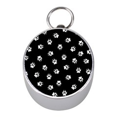 Footprints Dog White Black Mini Silver Compasses by EDDArt